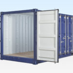 External View of New 20ft Open Sided Shipping Container with End Doors Open.