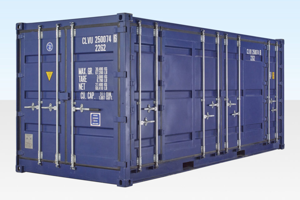 Side View of New 20ft Full Side Access Shipping Container. All Doors Closed.