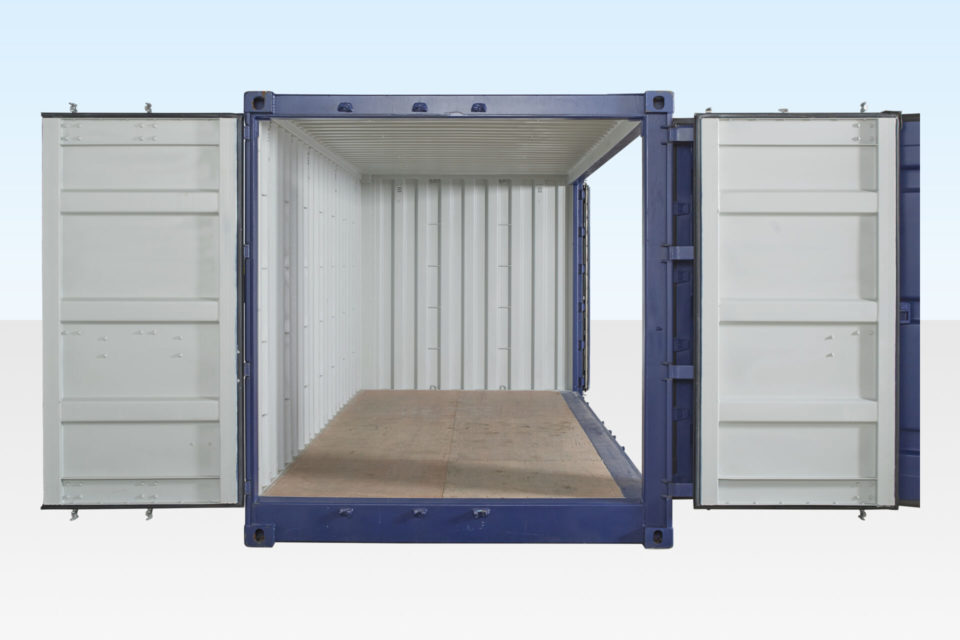 Full Side Access Container 20ft. End Doors and Side Doors Both Open.