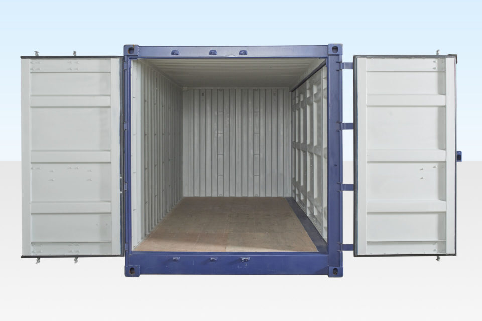 New Open Side Access Shipping Container. End Doors Open. Side Doors Closed.