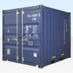 10ft Shipping Container. New. Blue RAL5013. Exterior View.