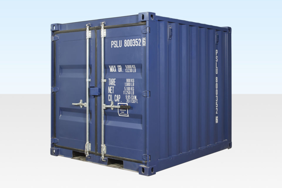 8ft Shipping Container. New. Dark Blue. Exterior View.