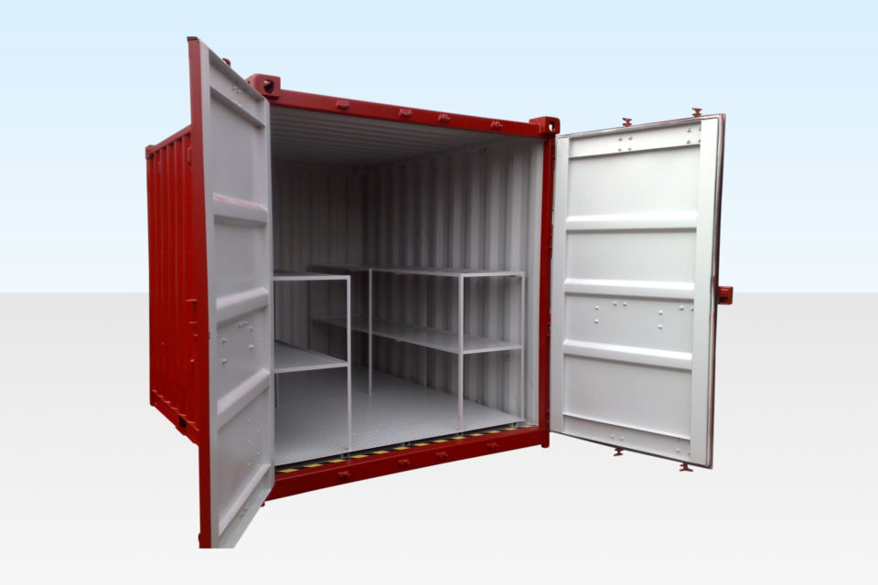 New 10ft x 8ft Bunded Storage Container. Doors Open.