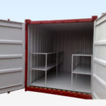 Chemical Storage Container. 10ft x 8ft. Doors Open showing Internal Shelving.