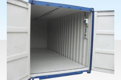 Bunded Chemical Storage Container 20ft. Doors Open.