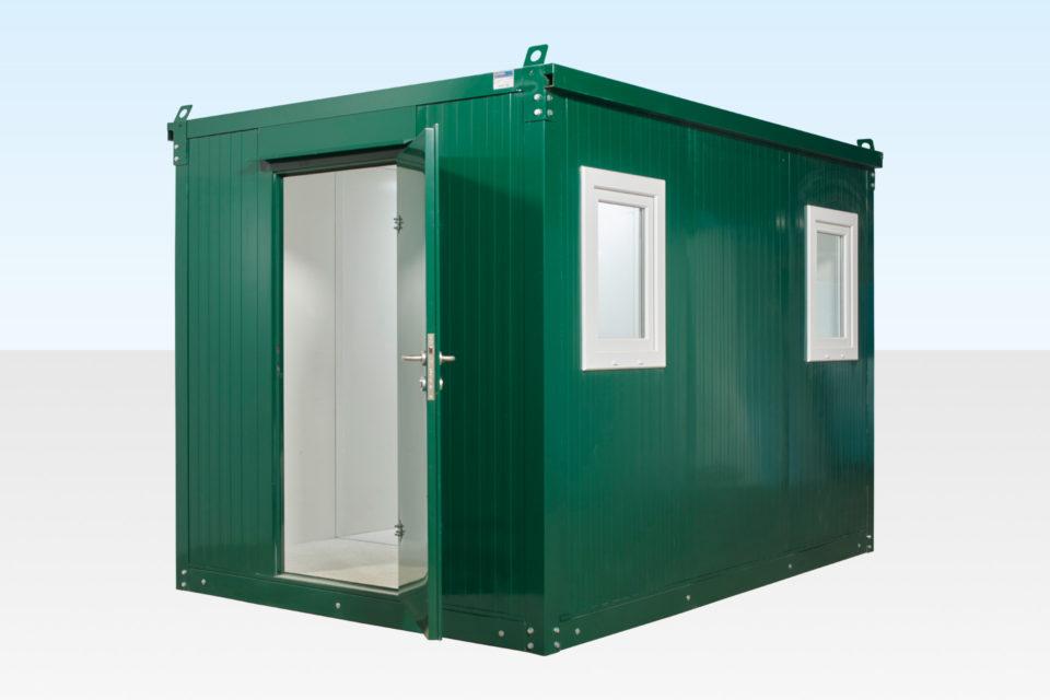 3m Flat Pack Cabin with door open