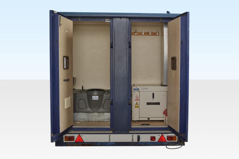 Rear doors open on mobile welfare cabin