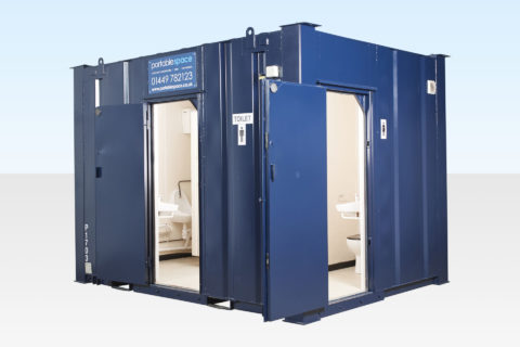 Hire a 2+1 Steel Toilet Cabin 12ft x 9ft