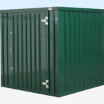 Side view of 2m flat packed storage container