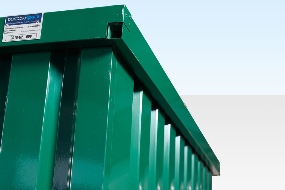 Corner detail view of 2m flat pack storage container
