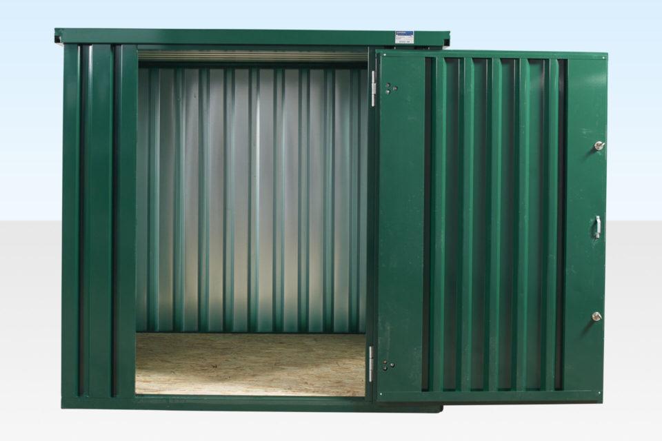 2m Flat Pack Storage Container. Green Powder Coated. Door Open.