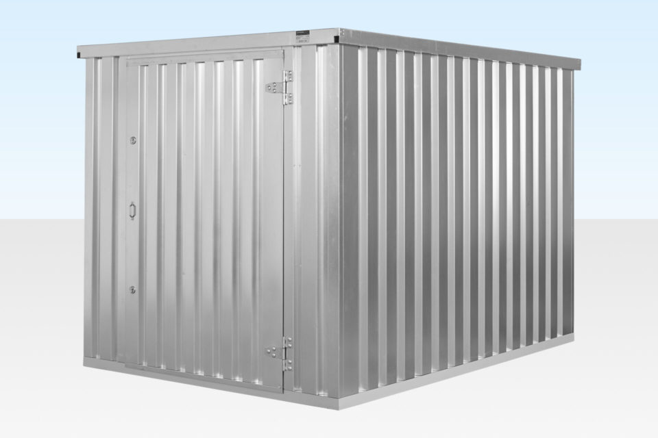 Side view of 3m Galvanised Flat Pack Storage Container Assembled