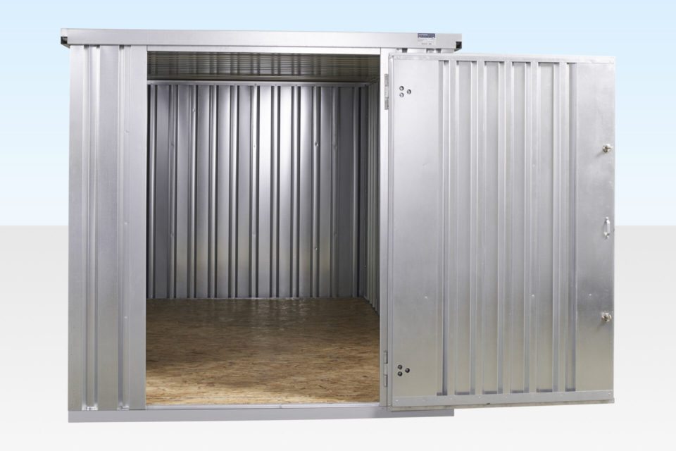 4m Galvanised Flat Pack Storage Container for Sale. Internal View.