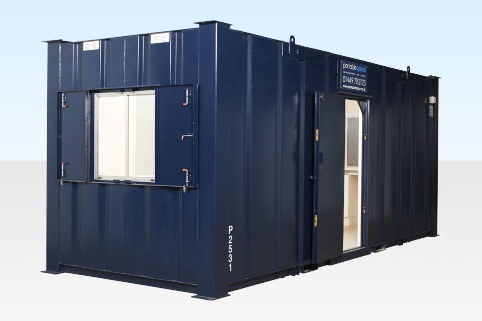 20ft Steel Office - Doors & Windows Open