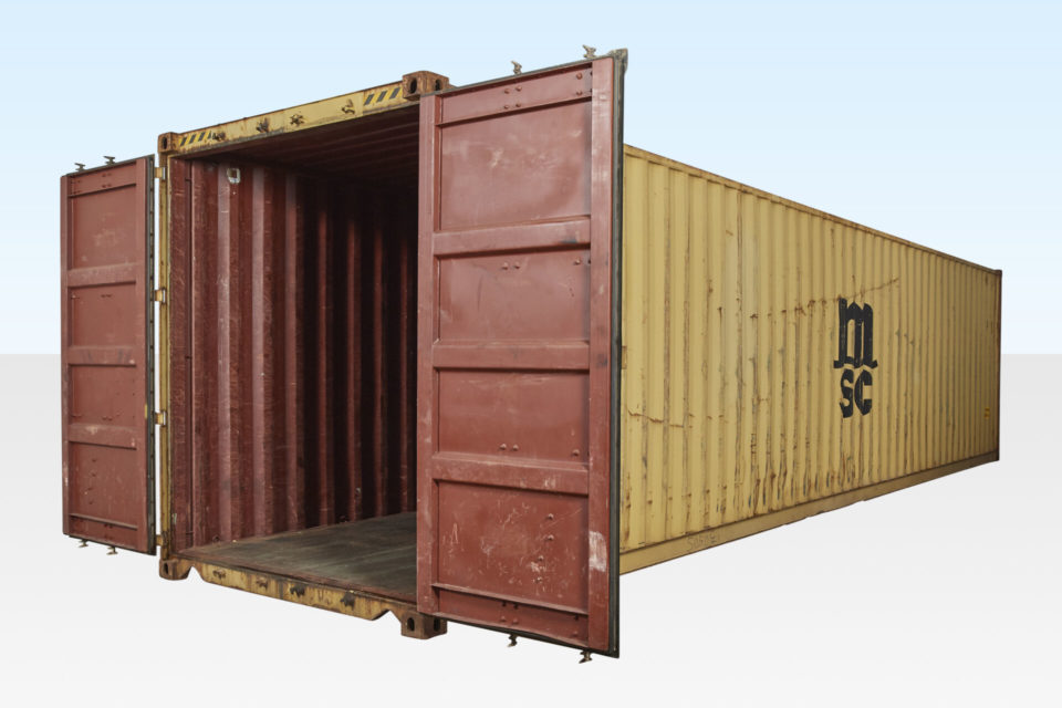 Used High Cube (2.9m Tall) Shipping Container. Doors Open. Internal View.