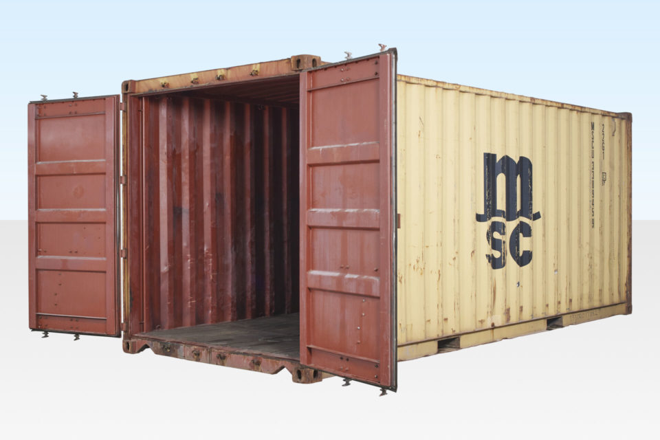 cheap 20ft container for hire. Side profile.