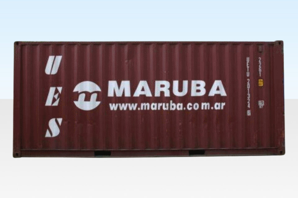 Side View. 20ft Used Grade A Shipping Container