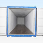40ft Shipping Container - End View. Doors Open.