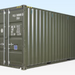 20ft High Cube Shipping Container - New. Exterior View. Green RAL6007