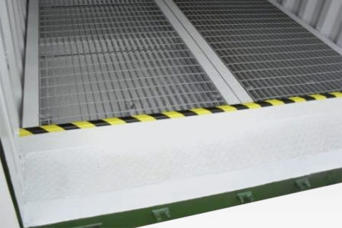 Bunded Chemical Storage Container for Sale. Open Mesh Floor Detail