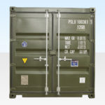 End View of 10ft Shipping Container. Dark Green. RAL 6007