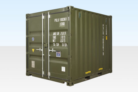 New 10ft Dark Green Shipping Container. External View.
