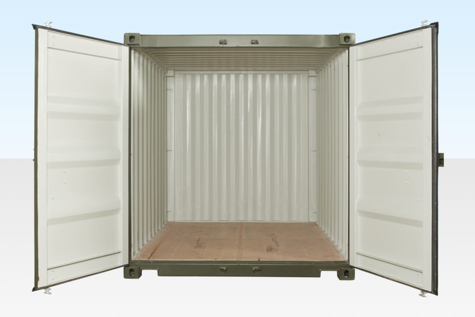 Internal View of 10ft Shipping Container. Doors Open.