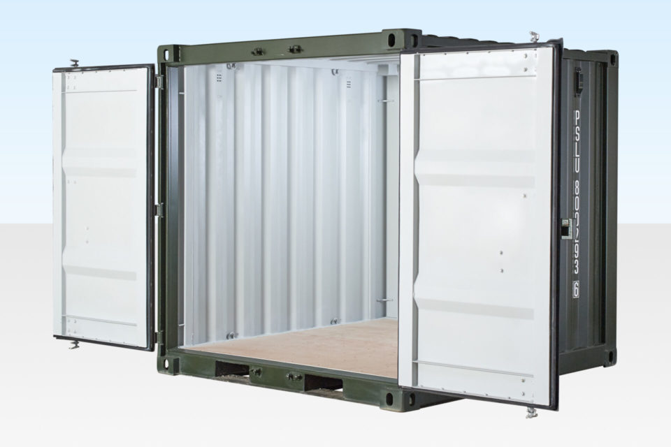 New 8ft Shipping Container with Doors Open