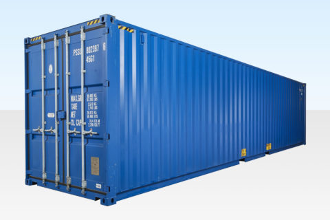 40ft High Cube Shipping Container. New. Blue RAL5013. Exterior View. Doors Closed.