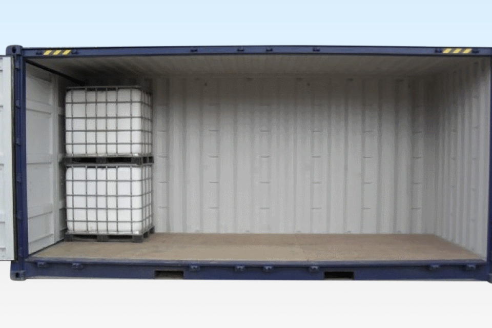 Front view of open sided container storing IBC