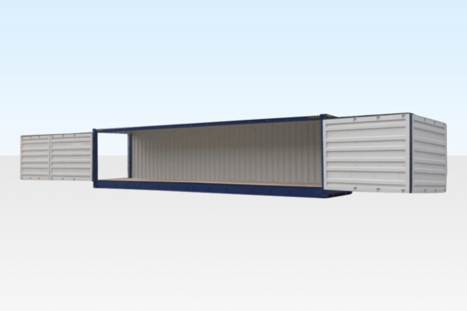 For Sale - 40ft Open-Sided High Cube Shipping Container. Side and End Doors Open.