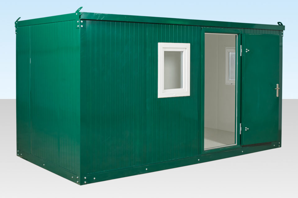 Flat Packed Office for Hire (3 metre). Green Powder Coated.