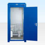 Hire a single mains site toilet - Blue RAL 5010
