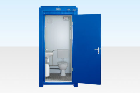 Hire a single mains site toilet - Blue RAL 5010