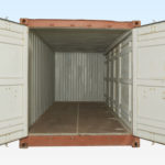 End View of Used 20ft Full Side Access Container. End Doors Open. Side Doors Closed.