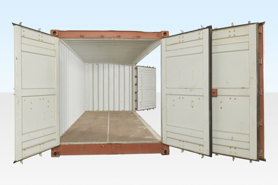 End View of Full Side Access Container. End Doors and Side Doors Open