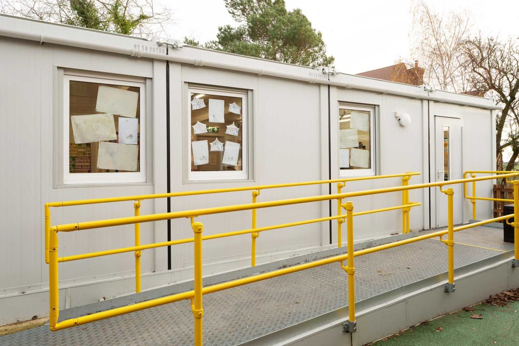 External view of modular classroom building at Creeting St Mary primary school
