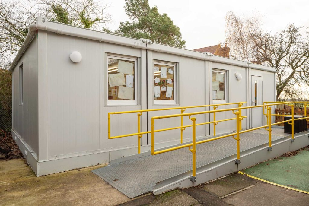 Outside modular classroom building