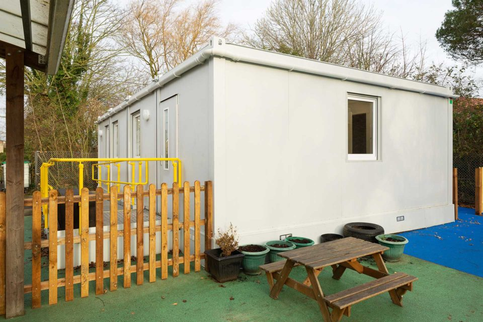 Rear view of new modular classroom building