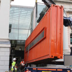 Delivery and installation of container in London museum