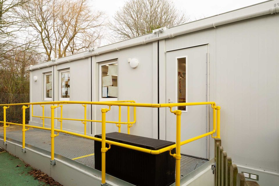 Ramp leading to new modular building for primary school