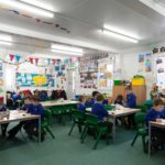 Children enjoy new classroom at Creeting St Mary primary school in Suffolk