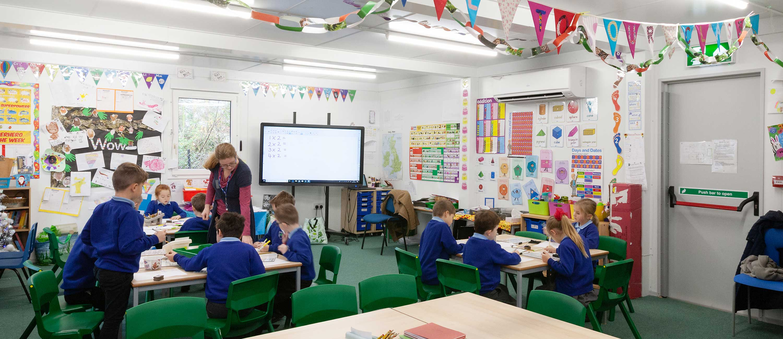 Inside a new modular classroom building