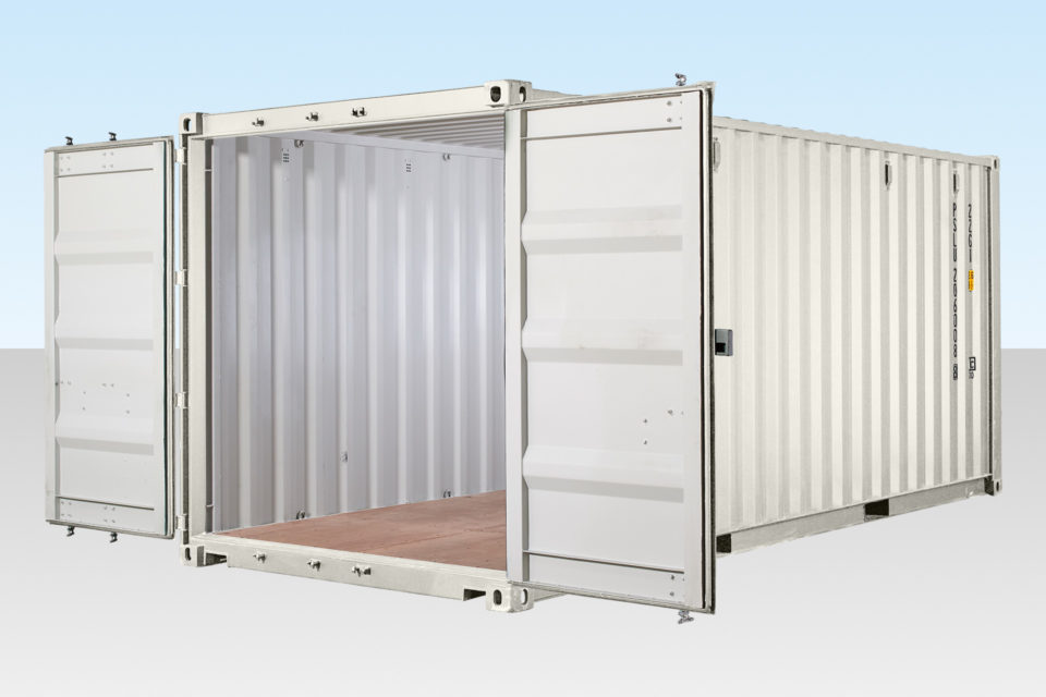 Profile view of white shipping container RAL 9003