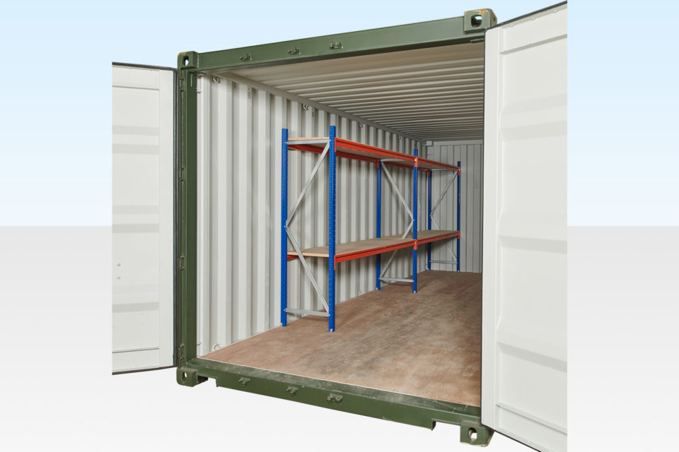2 Tier Racking in a 20ft Container