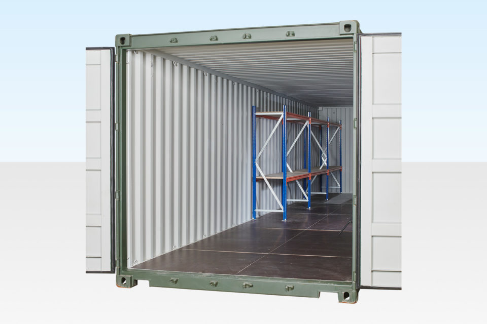 2-Tier Racking 2 Bay in a 40ft Container