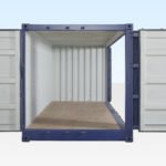Hire container with opening doors front and side