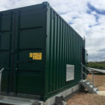 Converted container houses sub-station, transformers and switchgear