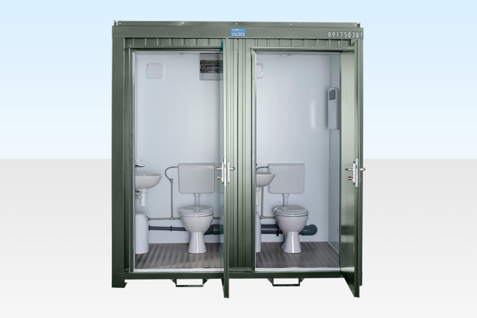 Site Toilets for Sale - Double Mains (RAL 6007)