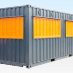 Shipping container cafe with hatches locked and secured